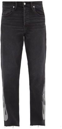 Lost Daze - Flame-applique Denim Jeans - Black