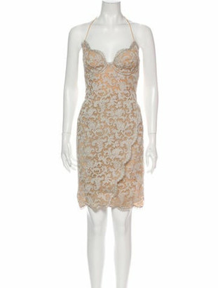 Donna Karan Lace Pattern Mini Dress Grey
