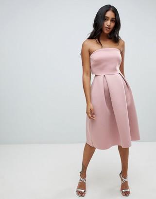 ASOS DESIGN Bandeau crop top midi prom dress