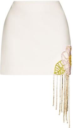 Area Crystal Flower Hem Mini Skirt