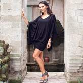 Women's Jersey Knit Tunic Top, 'Midnight Butterfly'