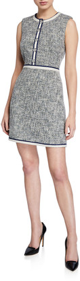 Veronica Beard Julie Sleeveless Tweed Dress with Buttons