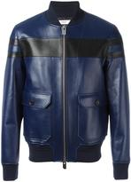 Bally contrast panel leather jacket