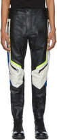 Diesel Black and Off-White Leather Astra-PTRE Trousers