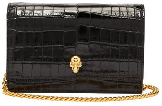 Alexander McQueen Skull Mini Croc-effect Leather Cross-body Bag - Black
