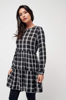 Next Womens Monochrome Tiered Check Dress - Black