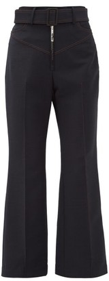 Ellery Supervision Contrast-stitch Kick-flare Trousers - Womens - Navy