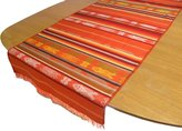Serape Hand Woven Traditional Fish Pattern on Table Runner, by Minga