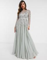 Asos Design DESIGN embellished floral occasion maxi dress in mint