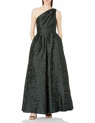 Carmen Marc Valvo Women's One Shoulder Pleated Ball Gown W/Metaillic Threads