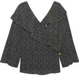 Diane von Furstenberg Ruffled Polka-dot Silk Crepe De Chine Wrap Top