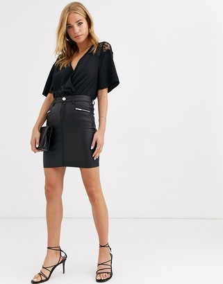 Lipsy coated button detail mini skirt in black