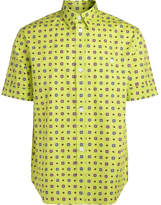 Kenzo yellow fluo shirt with contrasting multicolor pattern.
