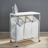 Crate & Barrel Triple Laundry Sorter with Ironing Board