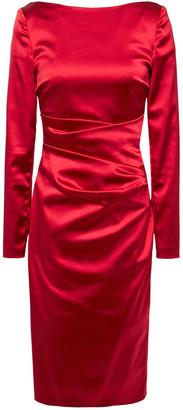 Talbot Runhof Sonett Ruched Duchesse Satin Dress