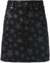 Saint Laurent star print mini denim skirt - women - Cotton - 26