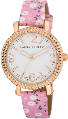 Laura Ashley Women's Watches - Pink & Rose Goldtone Floral Strap Watch