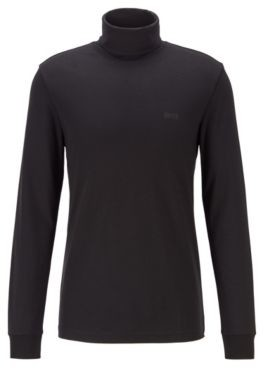 HUGO BOSS Slim-fit turtleneck T-shirt in cotton with long sleeves