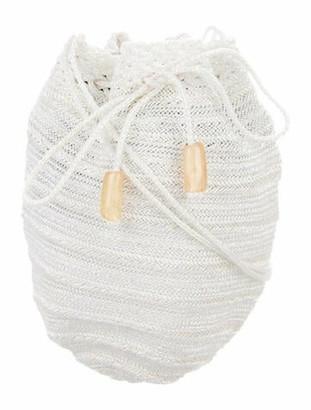 Donna Karan Woven Bucket Bag White