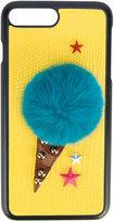 Dolce & Gabbana appliquéd phone case - women - Calf Leather/Artificial Fur - One Size