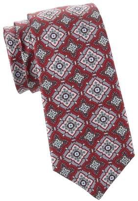 Kiton Large Medallion Print Silk Tie