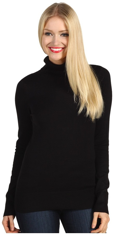French Connection Solid Baby Knit Turtleneck Sweater (Black) - Apparel