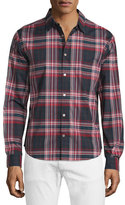 John Varvatos Slim-Fit Plaid Sport Shirt, Dutch Blue