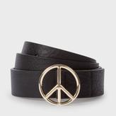 Paul Smith Men's Black Leather Peace Sign Buckle Belt