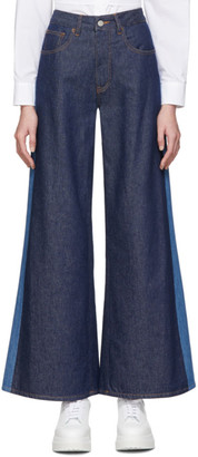 MM6 MAISON MARGIELA Blue Two-Tone Flare Jeans