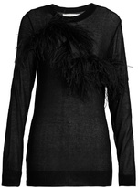 Marques Almeida MARQUES'ALMEIDA Feather-trimmed semi-sheer top