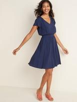 Old Navy Waist-Defined V-Neck Flutter-Sleeve Dress for Women