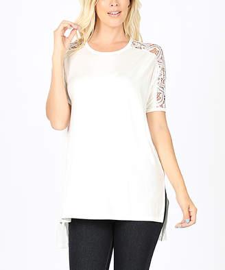 Zenana Women's Tee Shirts IVORY_IPB - Ivory Lace-Sleeve Hi-Low Top - Women & Plus
