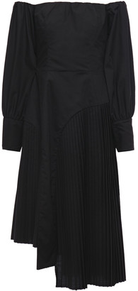 Each X Other Asymmetric Off-the-shoulder Pleated Poplin Dress