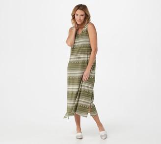 Denim & Co. Petite Printed Jersey V-Neck Dress w/ Trapeze Hem