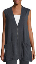 Max Studio Sleeveless Terry Zip-Front Cardigan, Charcoal/Natural