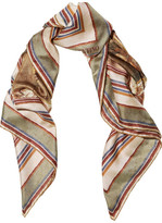 Valentino Printed Silk-twill Scarf - Brown