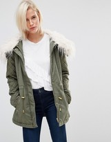 Brave Soul Drawstring Parka With Faux Fur Collar