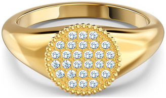 Swarovski Ginger Signet Ring - White - Gold-tone