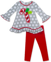 Rare Editions 2-Pc. Candy Cane Tunic and Leggings Set, Baby Girls (0-24 months)