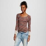 Lily Star Women's Crochet Trim Striped Top Juniors')