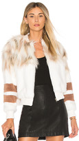 NBD x REVOLVE The Bella Faux Fur Bomber in Ivory. - size L (also in M,S,XS,XXS)