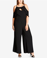 City Chic Trendy Plus Size Cold-Shoulder Jumpsuit