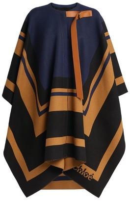 Chloé Graphic Wool Blanket Coat
