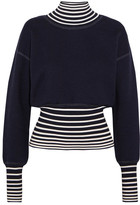 Loewe Striped Stretch-knit Turtleneck Sweater - Midnight blue