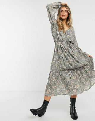 Cotton On Cotton:On long sleeve v neck maxi dress in ditsy floral