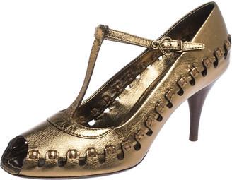 Louis Vuitton Bronze Leather T-Bar Cut Out Peep Toe Pumps Size 38