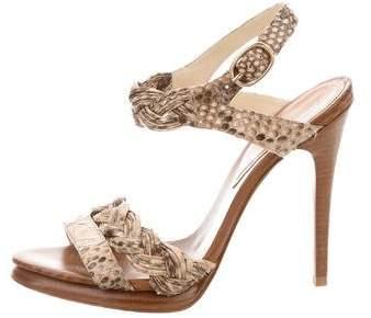 Alexandre Birman Snakeskin Ankle Strap Sandals