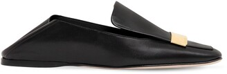 Sergio Rossi 10mm Metal Plaque Leather Loafers