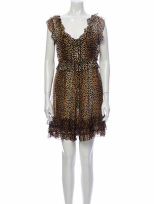 Dolce & Gabbana Silk Mini Dress Brown