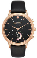 Kate Spade Sam Black And Rose Gold Leather Hybrid Smartwatch